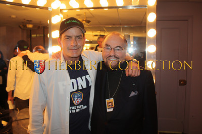"""Charlie Sheen and James Lipton, 'The Actors Studio'  backstage, Radio City Music Hall  after Charlie Sheen's 'Violent Torpedo of Truth, Defeat is Not an Option Show 2011"""""""