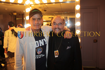 Charlie Sheen and James Lipton, 'The Actors Studio'  backstage, Radio City Music Hall  after Charlie Sheen's 'Violent Torpedo of Truth, Defeat is Not an Option Show 2011""