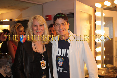 Sara Herbert-Galloway, Charlie Sheen,  backstage, Radio City Music Hall  after Charlie Sheen's 'Violent Torpedo of Truth, Defeat is Not an Option Show 2011""