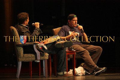 Simon Rex interviews Charlie Sheen at Radio City Music Hall during his 'Violent Torpedo of Truth, Defeat is Not an Option Tour 2011""