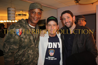 Darryl Strawberry, Charlie Sheen and Eytan Sugarman (Southern Hospitality), backstage, Radio City Music Hall  after Charlie Sheen's 'Violent Torpedo of Truth, Defeat is Not an Option Show 2011""