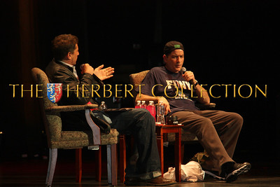 """Simon Rex interviews Charlie Sheen at Radio City Music Hall during his 'Violent Torpedo of Truth/Defeat is Not an Option Tour 2011"""""""