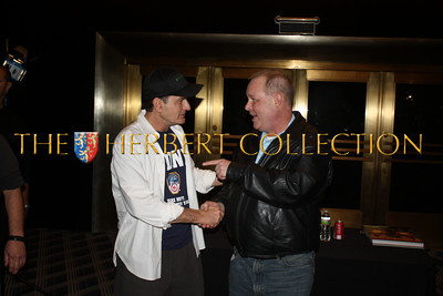 Charlie Sheen shakes hands with James Edstrom, 'Times Square Gossip' at meet & greet, Radio City Music Hall  after Charlie Sheen's 'Violent Torpedo of Truth, Defeat is Not an Option Show 2011""