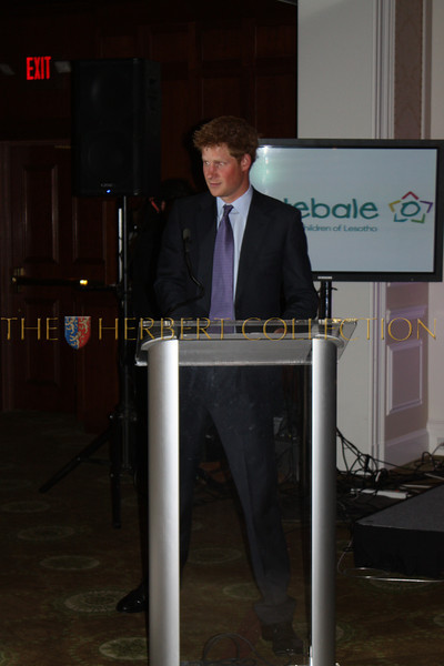 Harry, Prince of Wales addresses guests concerning the needs of his charity for Sentebale at Greenwich Country Club
