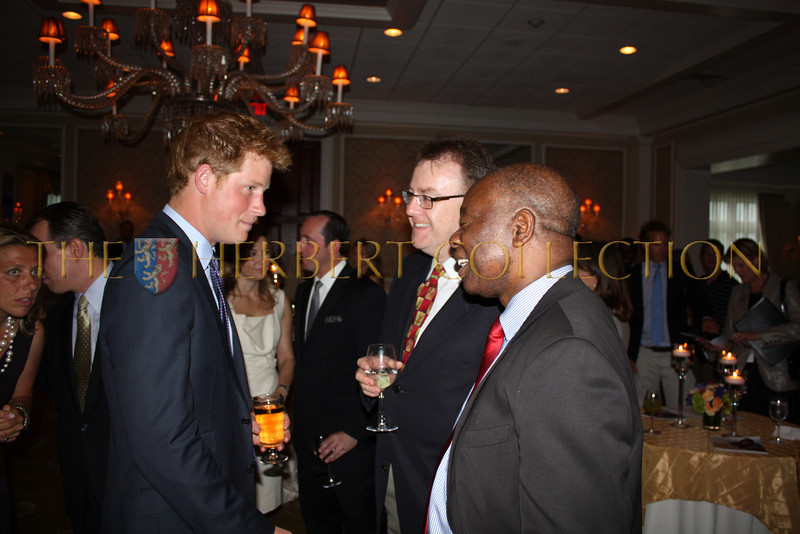 Prince Harry of Wales speaks with H.E. Ambassador Boniface Chidyausiku of Zimbabwe