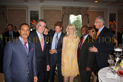 H.E. Ambassador Francis Lorenzo of the Dominican Republic, guest, Richard Lukaj, Prince Harry of Wales, Sara Herbert-Galloway, H.E. Ambassador Boniface Chidyausiku of Zimbawe and Barry Klarberg of Monarch Management
