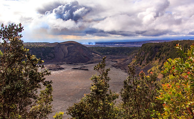At the center of this picture, you can see the smoke coming from the volcano.  Our hike included walking across this crater.