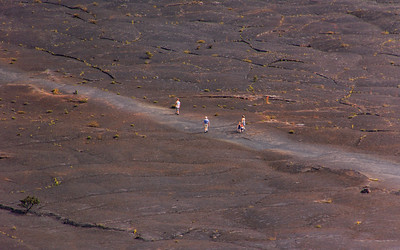 Using my long telephoto lens, here are some of the hikers in the middle of the crater.