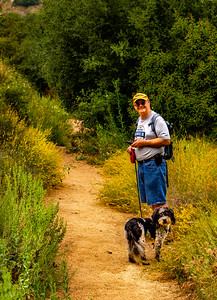 "Mike (aka ""Boy Scout"") brought his dog Panda Bear for this hike."