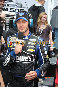 Jimmie Johnson being interviewed by ESPN after winning the Daytona 500. Go to pages 8 and 9 for photos from the end of the race
