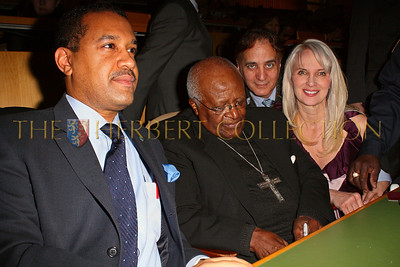 NEW YORK - MARCH 17:  Ambassador Francis Lorenzo, Permanent Mission of the Dominican Republic to the UN, Archbishop Emeritus Desmond Tutu, James Cavello and Charity Consultant Sara Herbert-Galloway attend on stage at the MDG Awards global launch event at the United Nations building on March 17, 2009 in New York City.  (Photo by Steve Mack/S.D. Mack Pictures) *** Local Caption *** Francis Lorenzo; Desmond Tutu; James Cavello; Sara Herbert-Galloway