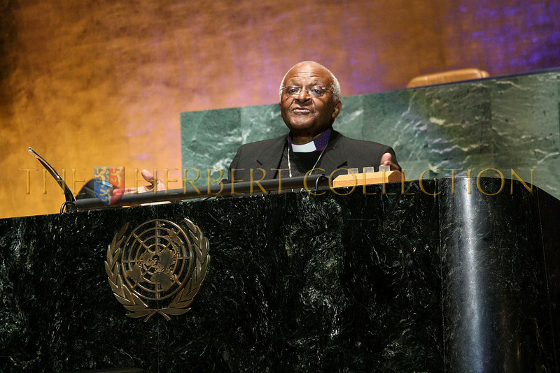 NEW YORK - MARCH 17:  Archbishop Emeritus Desmond Tutu speaks on stage at the MDG Awards global launch event at the United Nations building on March 17, 2009 in New York City.  (Photo by Steve Mack/S.D. Mack Pictures) *** Local Caption *** Desmond Tutu