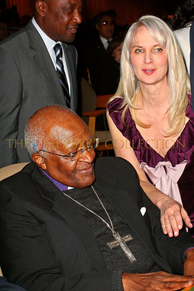 NEW YORK - MARCH 17:  Archbishop Emeritus Desmond Tutu and Charity Consultant Sara Herbert-Galloway attend on stage at the MDG Awards global launch event at the United Nations building on March 17, 2009 in New York City.  (Photo by Steve Mack/S.D. Mack Pictures) *** Local Caption *** Desmond Tutu; Sara Herbert-Galloway