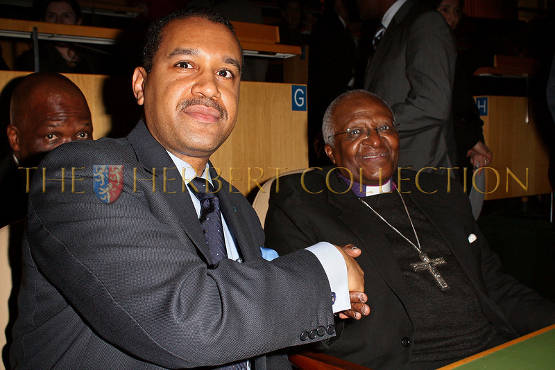 NEW YORK - MARCH 17:  Ambassador Francis Lorenzo, Permanent Mission of the Dominican Republic to the UN and Archbishop Emeritus Desmond Tutu attend the MDG Awards global launch event at the United Nations building on March 17, 2009 in New York City.  (Photo by Steve Mack/S.D. Mack Pictures) *** Local Caption *** Francis Lorenzo; Desmond Tutu