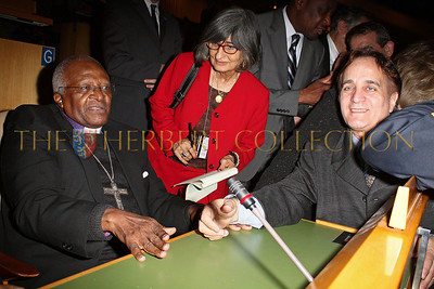 NEW YORK - MARCH 17:  Archbishop Emeritus Desmond Tutu and James Cavello attend the MDG Awards global launch event at the United Nations building on March 17, 2009 in New York City.  (Photo by Steve Mack/S.D. Mack Pictures) *** Local Caption *** Desmond Tutu; James Cavello