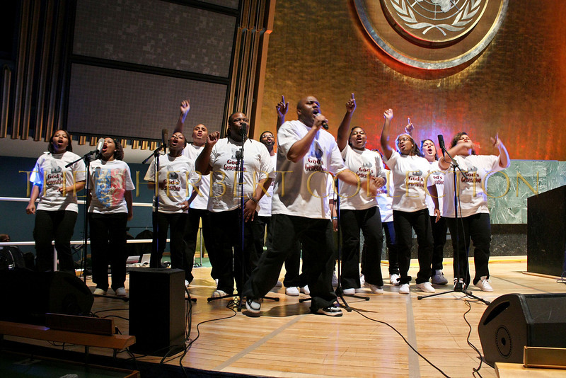 NEW YORK - MARCH 17:  The Junior Fountain Gospel Choir with Ahed Thani perform on stage at the MDG Awards global launch event at the United Nations building on March 17, 2009 in New York City.  (Photo by Steve Mack/S.D. Mack Pictures)