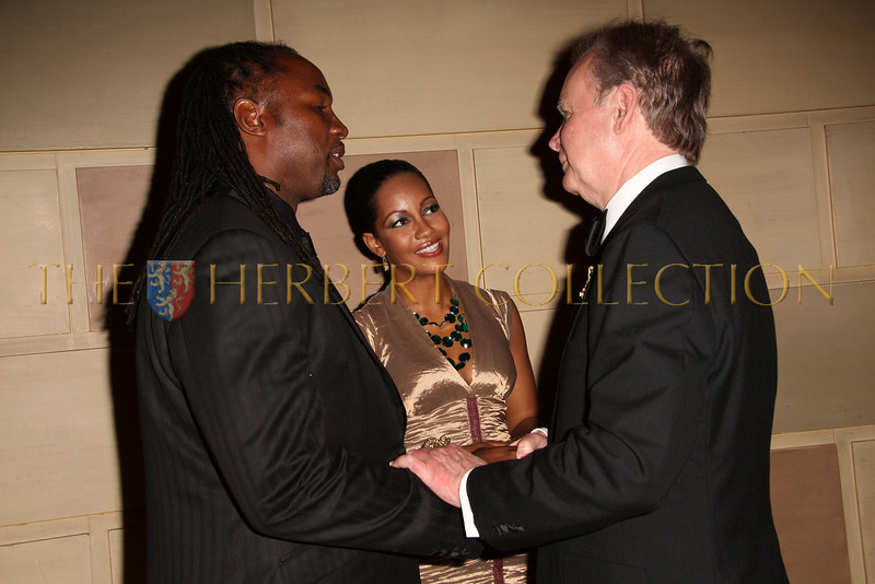 New York - November 6: Lennox Lewis with wife Violet Chang and Amb. Stan L. McLelland, ret. at The American Friends of Jamaica's 27th Annual Gala and Auction at Gotham on Thursday, November 6, 2008 in New York, NY.  (Photo by Steve Mack/S.D. Mack Pictures)