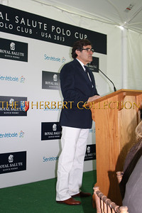 Peter Brant, industrialist and avid horseman welcomes Prince Harry and everyone to The Greenwich Polo Club.