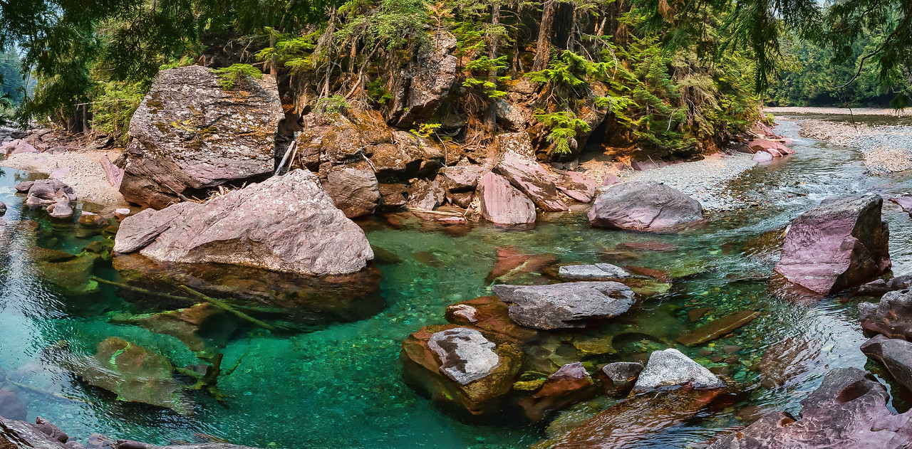 The clean, clear water of the Flathead River