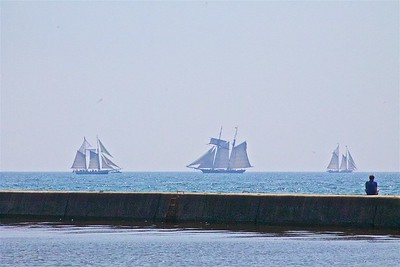 Tall Ships Mustering Off Algoma WI.