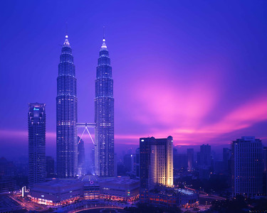 Dusk view of Kuala Lumpur and Petronas Twin Towers