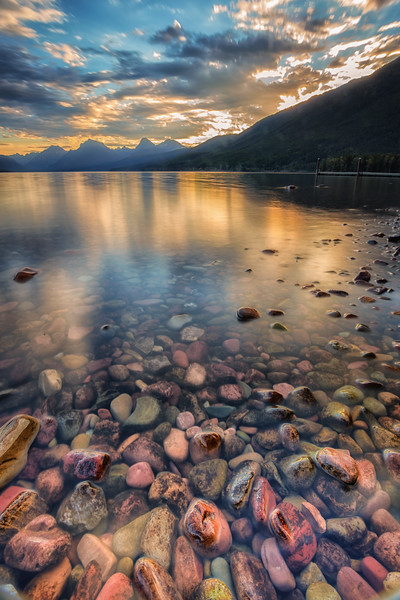 Colorful rocks of Lake McDonald.