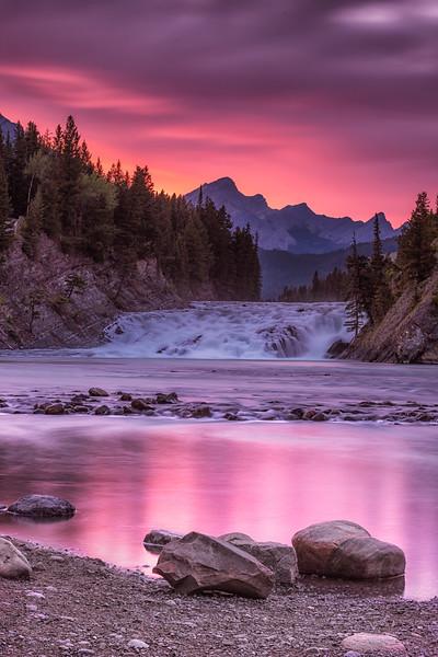 Sunset glow at Bow Falls.