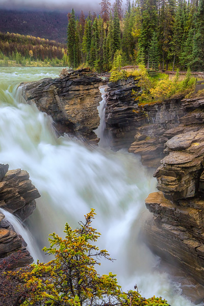Athabasca Falls rushing waters. (Vertical Orientation.)