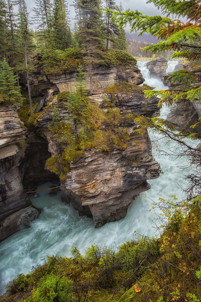 Athabasca Falls Viewpoint. (Vertical Orientation.)