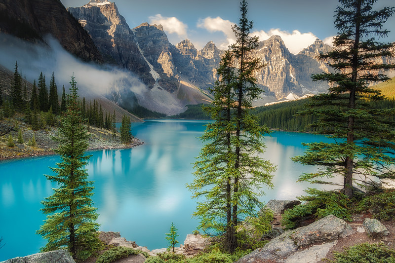 Moraine lake in the Valley of Ten Peaks.