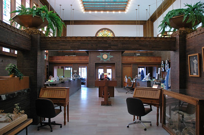 The Sullivan Jewel Box in Grinnell, Iowa. Louis Sullivan designed this bank. Picture taken from within the former vault. Behind me is a new addition where the modern bank functions (Wells Fargo, I believe).