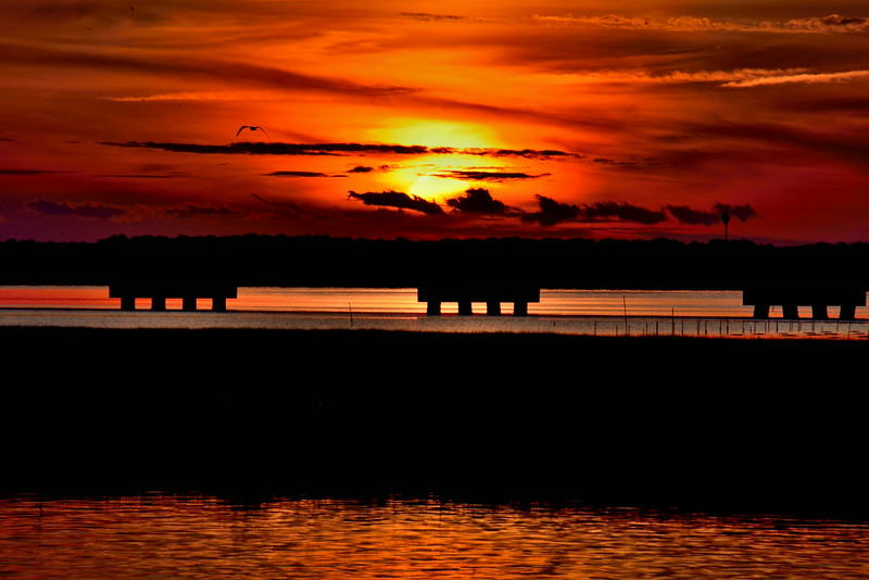 Sunset over the Chincoteague waterfront
