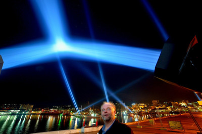 """A rare """"selfie"""". Here I'm trying to figure out how to drive one of the the Dark MOFO lights down by Hobart's waterfront."""
