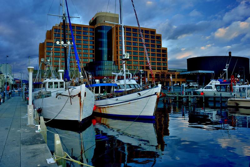 Fishing boats docked in Hobart