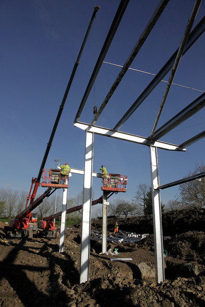 Steel erectors working on North Stand