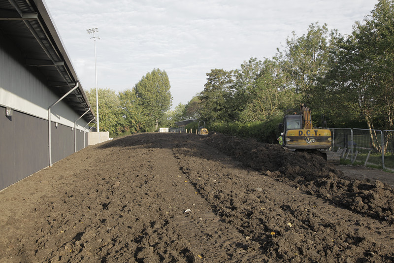 North stand to the left, area to right being prepared for landscaping