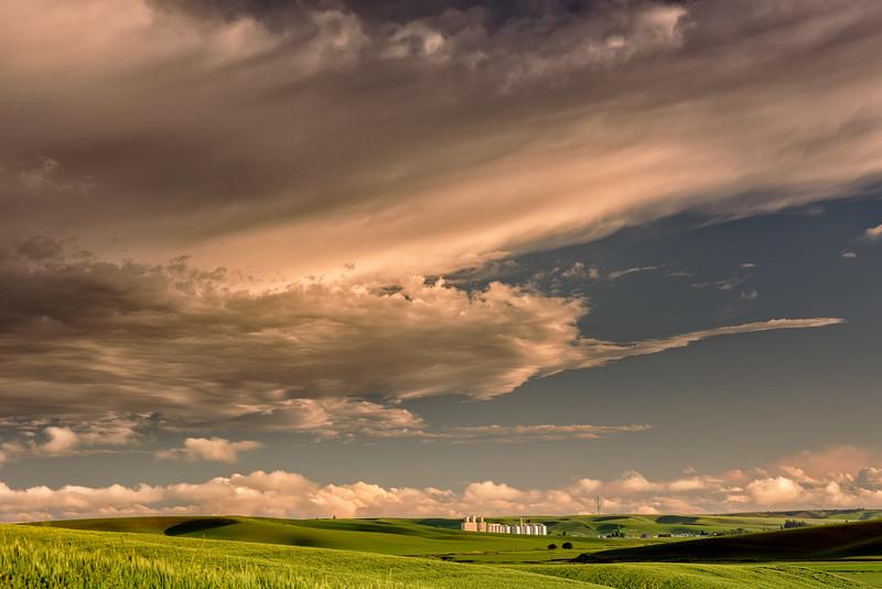 Dramatic evening sky over Genesee Idaho and farm fields