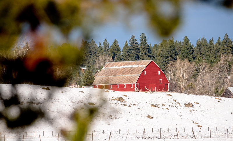 Classic red barn near McCall in winter