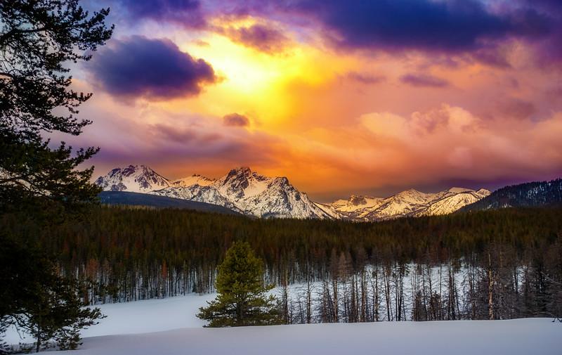Sunrise over Sawtooth Mountain winter Idaho