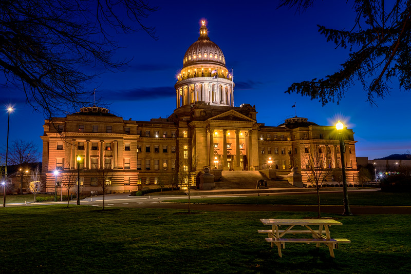 Picnic table at Capital Building  in Boise, Idaho