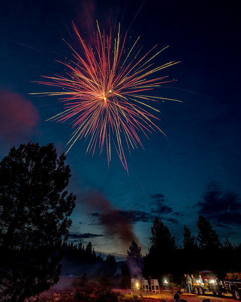 Beautiful fireworks burst over the small town of Placerville