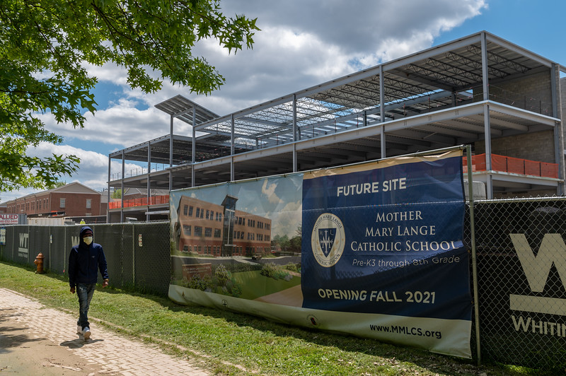 Construction progresses on the new Archdiocese of Baltimore Mother Mary Lange Catholic School May 12, 2020 in West Baltimore. (Kevin J. Parks/CR Staff)