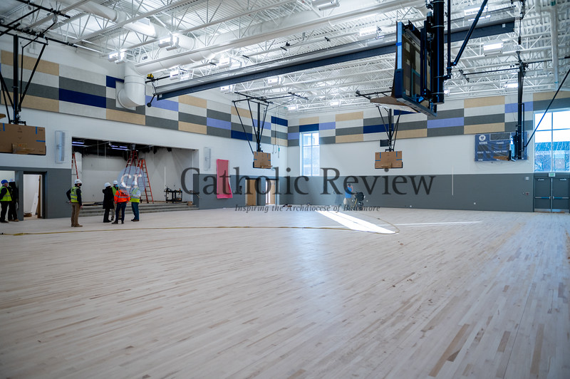 A full-size gym with stage and projection is part of the Mother Mary Lange School. (Kevin J. Parks/CR Staff)