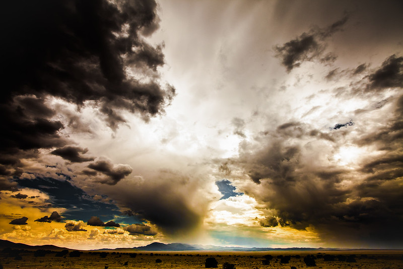 Storms brewing in Big Bend Flats, Texas