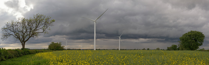 May 13 2011. Some great storm clouds rolling across parts of the Midlands. Nice panorama over the Gilmorton windfarm. E5 with 12-60mm SWD.
