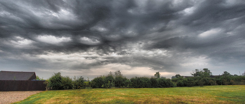 23 July 2013. Summer storms fire over the East Midlands and the bubbling convective clouds make great subjects.  This pano was captured first thing in morning after a big night of electrical storms. Lots of undulating wave formations. Drama added with dramatic tone art filter. This is two landscape images stitched for the pano. Captured with Oly OM-D & 12mm,  f2.5 1/4000s