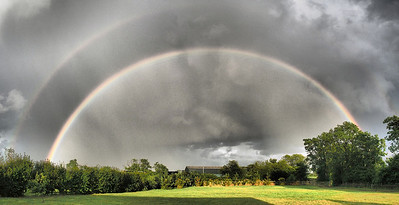 29 July 2013. What a great 180 rainbow and colours brought to life with the dramatic tone filter. This is three landscape images stitched for the pano. Captured with Oly OM-D & 12mm,  f5 1/1600s