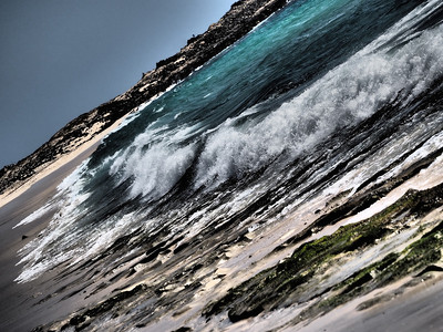Cape Verde beach captured with dramatic tone art filter.