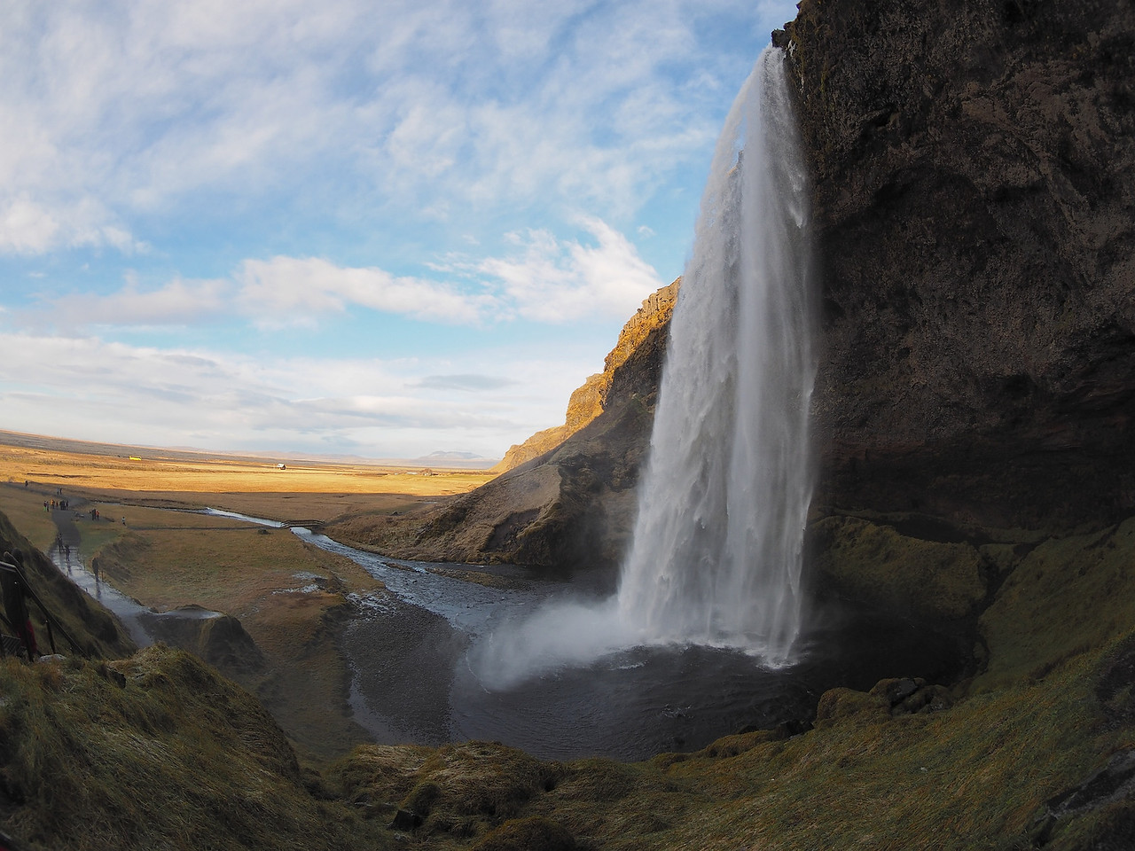 Seljalandsfoss waterfall. Olympus E-M1, 8mm fisheye 4/3 lens. , ISO 200. Another spectacular waterfall and one you can walk behind. This shot captured with the 4/3 8mm fisheye which had no problem exposing or focusing when used on the E-M1 (with adapter). So pleased to know that my 4/3 lenses are producing equally, if not better images with the E-M1.