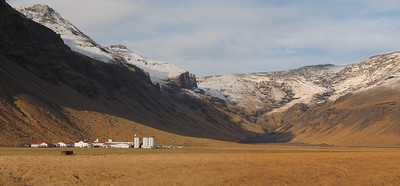 The famous volcano farm. Olympus E-M1 & 12-60mm 4/3 lens panorama. This farm, Þorvaldseyri, located in south Iceland directly under under Eyjafjalljökull volcano has had over 100,000 people to their visitor centre since the 2010 eruption. I wished I was taking this shot on that day in history....The farm website & link to the volcano visitor centre is here - http://www.thorvaldseyri.is/en